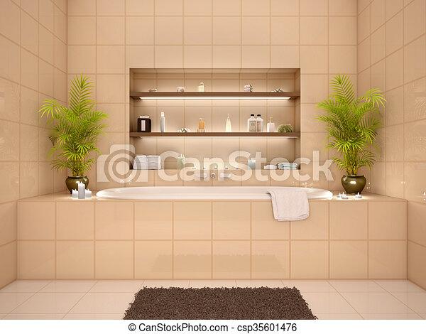 Nichos, cuarto de baño, pared, ilustración, tonos tibios ...