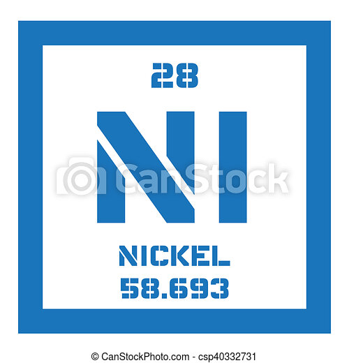 Nickel Chemical Element Transition Metal Colored Icon With Atomic