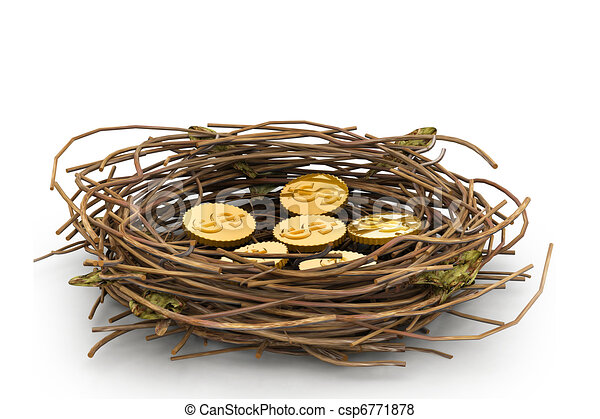 Una moneda de dólar en el nido - csp6771878