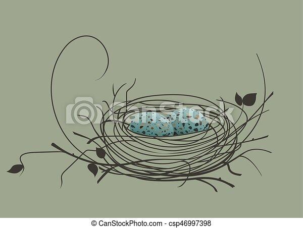 Huevos de pájaro en el nido - csp46997398