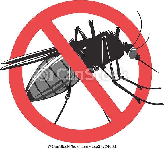 nie, odizolowany, znak, tło., moskit, biały - csp37724668
