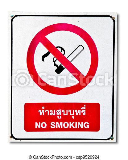 nie, odizolowany, znak, tło, palenie, biały - csp9520924