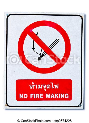 nie, ogień, odizolowany, znak, tło, biały - csp9574228