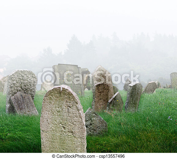 Cementerio en una niebla - csp13557496