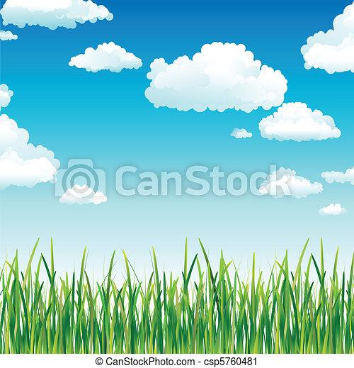 niebo, trawa, chmury, zielony, nad - csp5760481