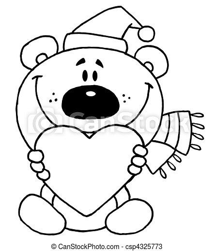 niedźwiedź, dzierżawa, sercowy szkic - csp4325773