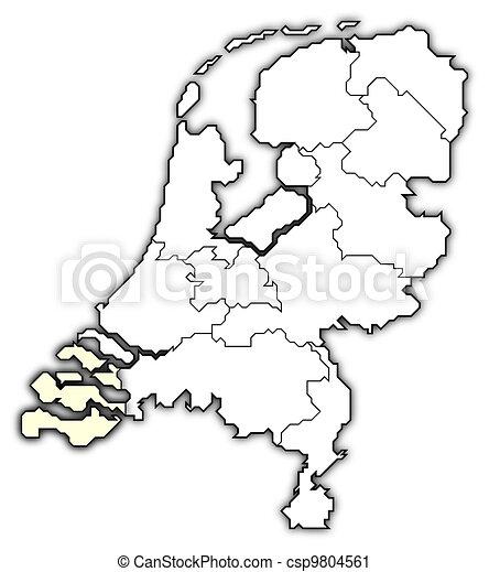 Niederlande Karte Umriss.Niederlande Landkarte Hervorgehoben Zeeland