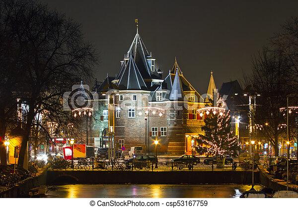 niederlande, nacht zeit, amsterdam, nieuwmarkt, weihnachten