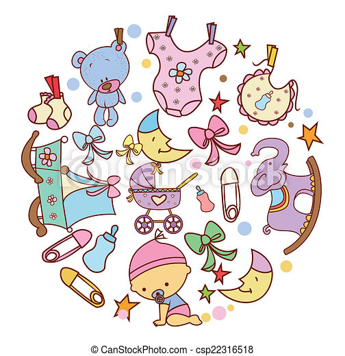 niemowlę, doodle, koło, chorągiew - csp22316518