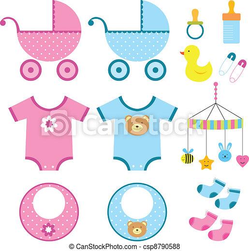 niemowlę, elementy, komplet - csp8790588