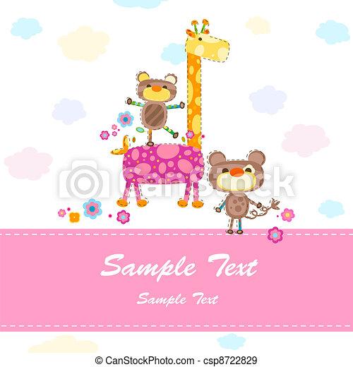 niemowlę, karta, zaproszenie - csp8722829