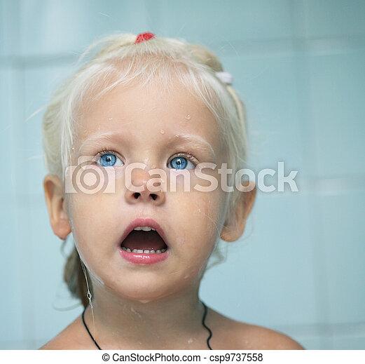 niemowlę, mały, wanna, dziewczyna, dziecko - csp9737558