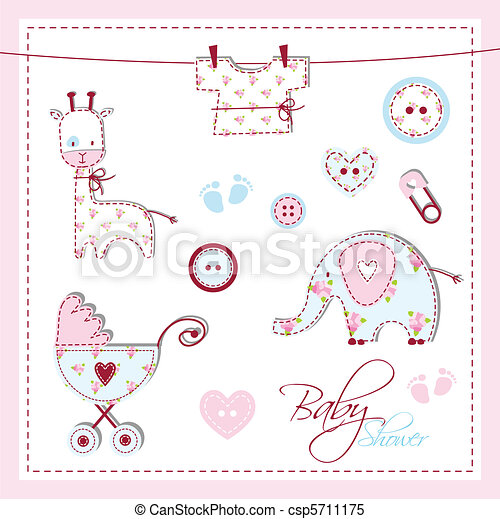 niemowlę przelotny deszcz, elementy, projektować - csp5711175