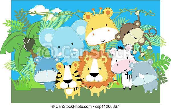 niemowlę, wektor, zwierzęta, safari - csp11208867