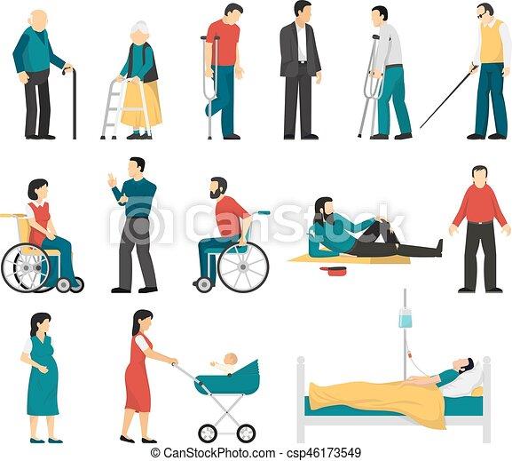 niepełnosprawny, komplet, ludzie - csp46173549