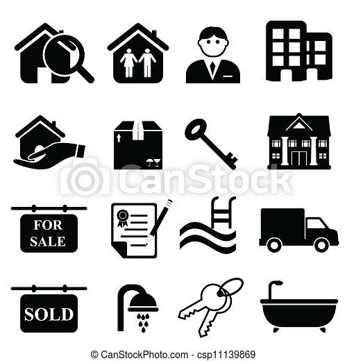 nieruchomość, ikony - csp11139869