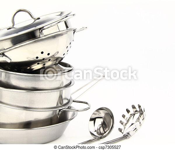 niesplamiony, naczynia kuchenne, stal, grupa - csp7305527