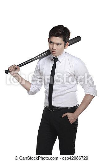 nietoperz, handlowy, młody, baseball, dzierżawa, człowiek - csp42086729