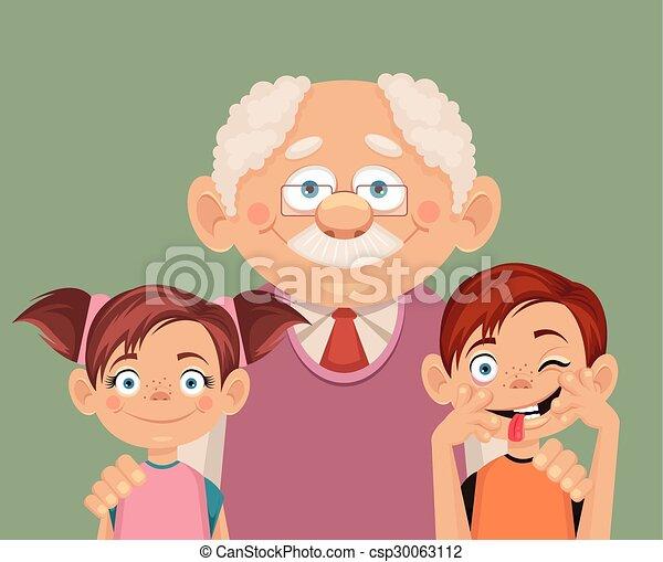 Abuelo y nietos - csp30063112