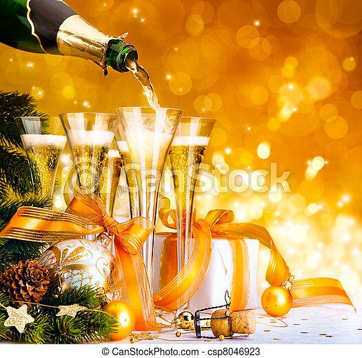 nieuw, gelukkige kerstmis, vrolijk, jaar - csp8046923