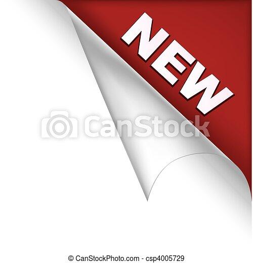 nieuw, pagina, hoek - csp4005729