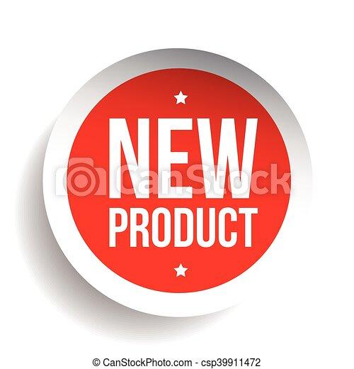 nieuw product, sticker, rood - csp39911472