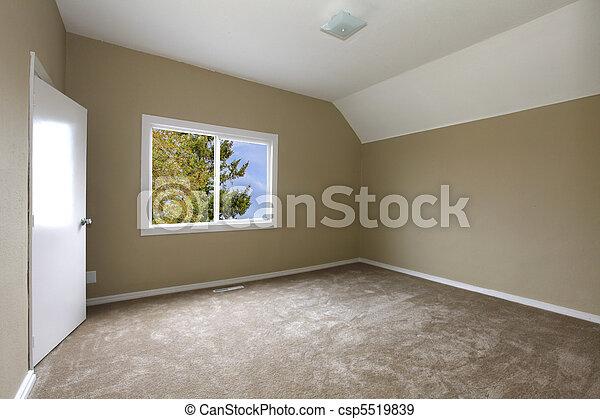 Nieuw, slaapkamer, beige, tapijt.
