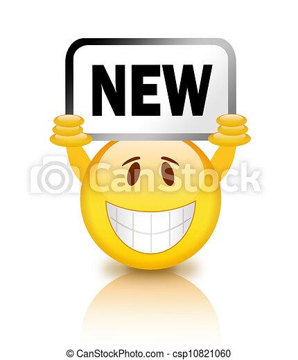 nieuw, smiley, plakkaat - csp10821060