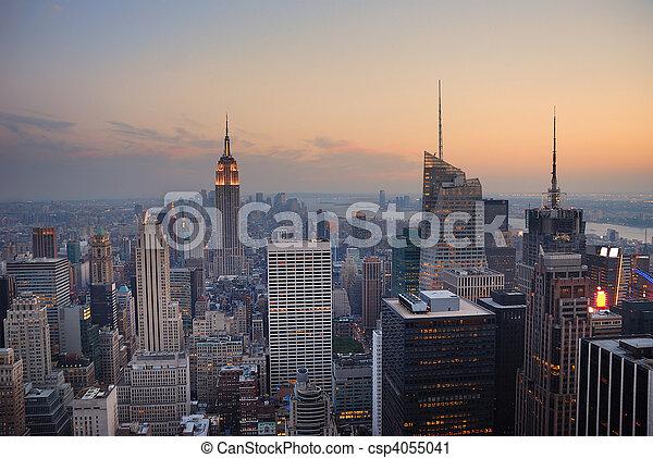 nieuw, stad, manhattan, york - csp4055041