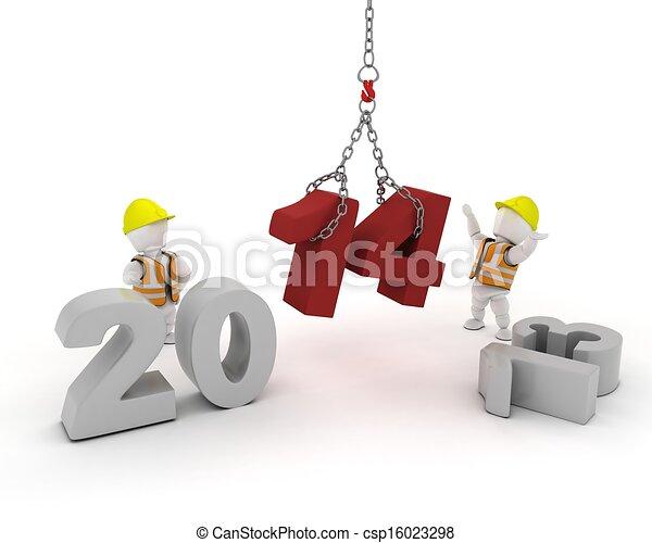 nieuw, year!, vrolijke  - csp16023298