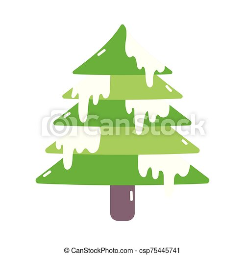 nieve, alegre, decoración, árbol, navidad, icono - csp75445741