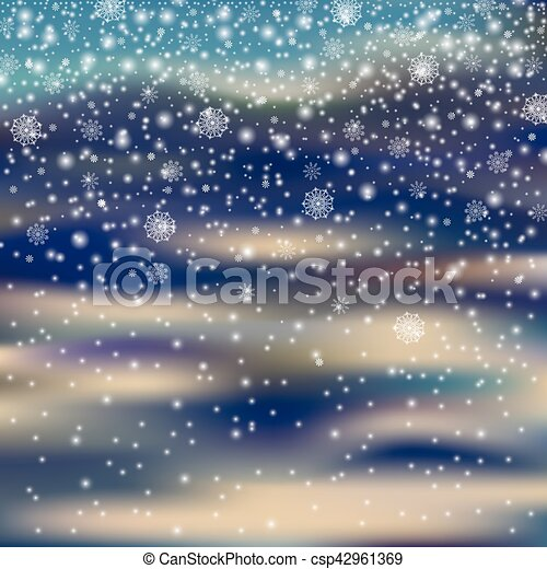 Nevación de decoración navideña en un fondo borroso, copo de nieve - csp42961369