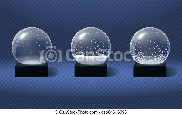 nieve, globos, realista, esfera, style., vidrio, navidad - csp84616095