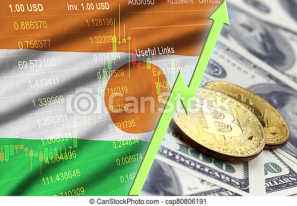 Niger flag and cryptocurrency growing trend with two bitcoins on dollar bills - csp80806191