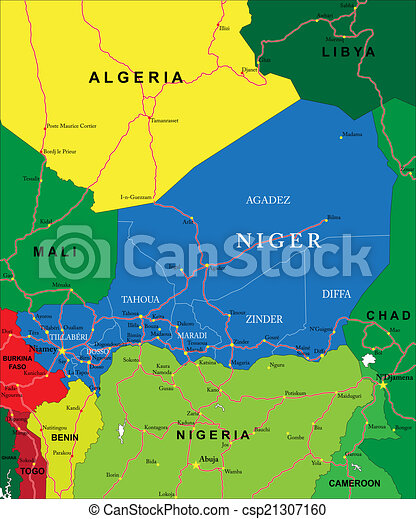 Niger map Highly detailed vector map of niger with clip art
