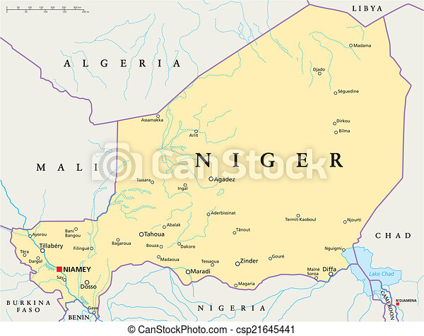 Niger political map with capital niamey national borders eps