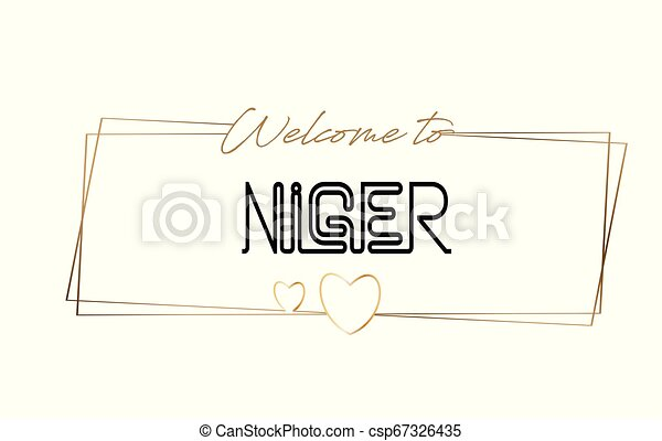 Niger Welcome to text Neon lettering typography. Word for logotype, badge, icon, postcard, logo, banner Vector Illustration. - csp67326435