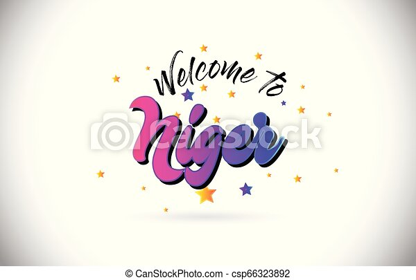 Niger Welcome To Word Text with Purple Pink Handwritten Font and Yellow Stars Shape Design Vector. - csp66323892