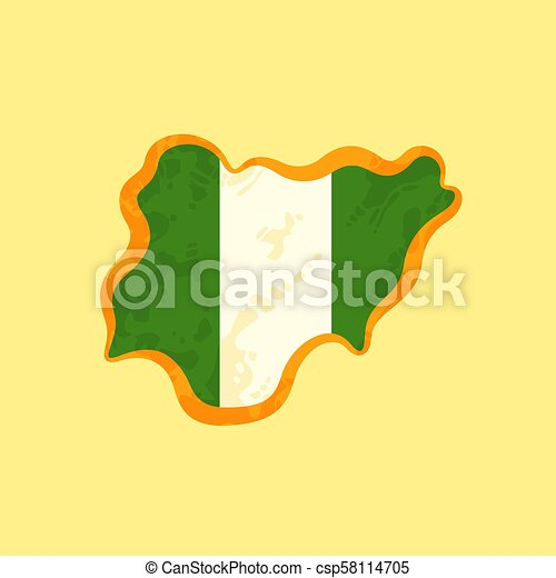 Nigeria - Map colored with Nigerian flag - csp58114705