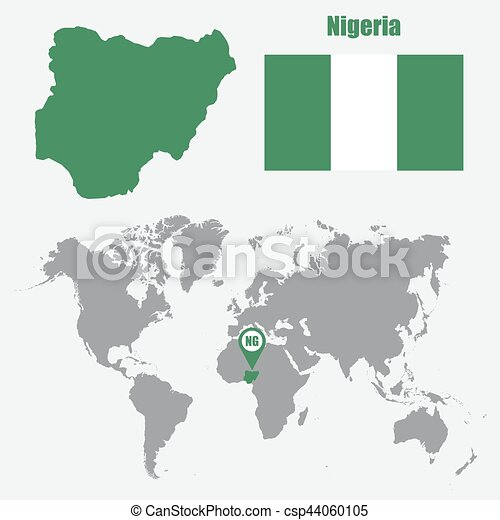 Nigeria map on a world map with flag and map pointer vector nigeria map on a world map with flag and map pointer vector illustration gumiabroncs Gallery