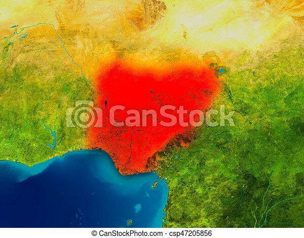 Nigeria on physical map - csp47205856