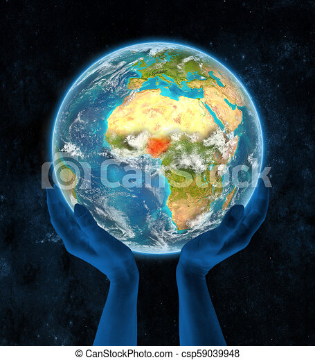 Nigeria on planet Earth in hands - csp59039948
