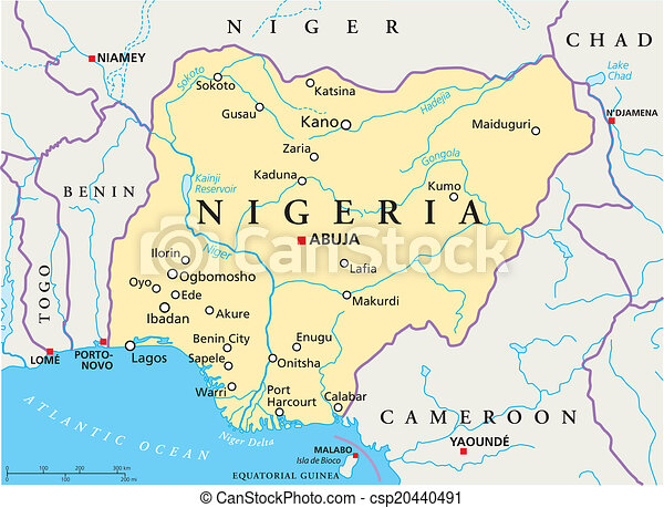 Nigeria Political Map Political Map Of Nigeria With Capital - Map of nigeria