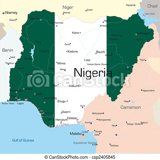 nigeria karta Abstract color map of nigeria country colored by national flag . nigeria karta