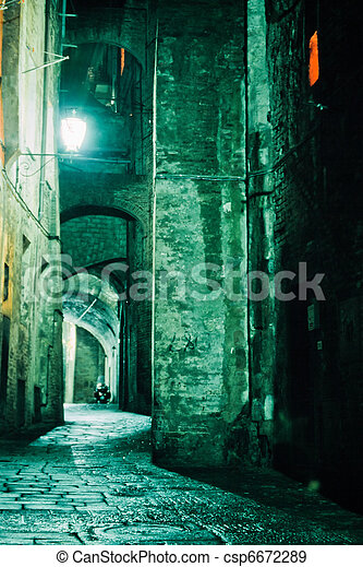 Night Alley in old city of Siena, Tuscany, Italy - csp6672289