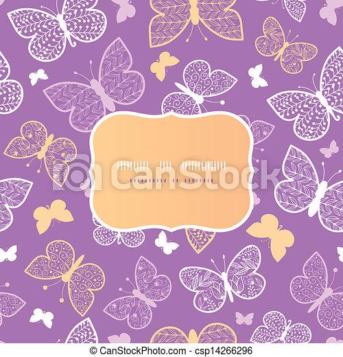 Night butterflies frame seamless pattern background template - csp14266296