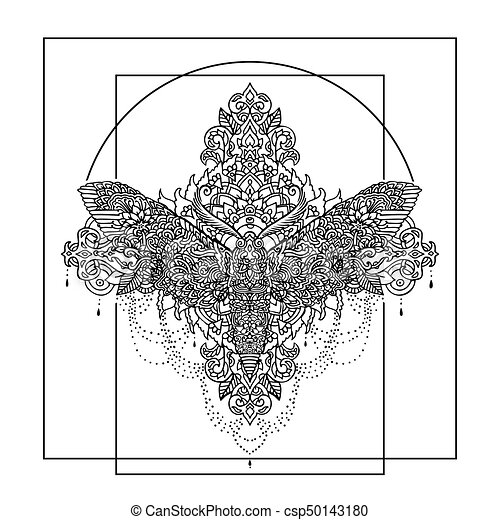 Night Butterfly Adult Coloring Book Vector Illustration Anti Stress Zentangle Style