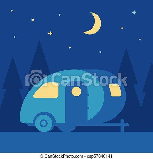 Night camping trailer - csp57840141