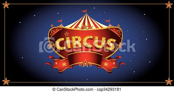 Night circus sign  - csp34293181