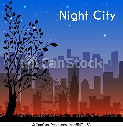 night city background concept. Vector illustration design - csp65471183